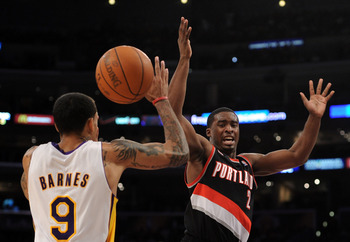 LOS ANGELES, CA - NOVEMBER 07:  Wesley Matthews #2 of the Portland Trail Blazers loses the ball in front of Matt Barnes #9 of the Los Angeles Lakers at the Staples Center on November 7, 2010 in Los Angeles, California.  NOTE TO USER: User expressly acknow