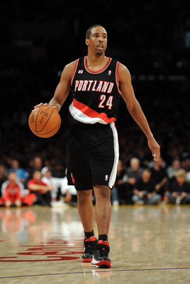 LOS ANGELES, CA - NOVEMBER 07:  Andre Miller #24 of the Portland Trail Blazers dribbles up court against the Los Angeles Lakers at the Staples Center on November 7, 2010 in Los Angeles, California.  NOTE TO USER: User expressly acknowledges and agrees tha