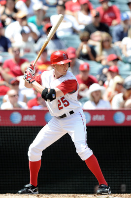 ANAHEIM, CA - AUGUST 29:  Peter Bourjos #25 of the Los Angeles Angels of Anaheim at bat against the Baltimore Orioles at Angel Stadium on August 29, 2010 in Anaheim, California.  (Photo by Harry How/Getty Images)
