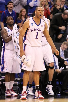 OKLAHOMA CITY - MARCH 20:  Xavier Henry #1 of the Kansas Jayhawks reacts against the Northern Iowa Panthers during the second round of the 2010 NCAA men's basketball tournament at Ford Center on March 20, 2010 in Oklahoma City, Oklahoma.  (Photo by Ronald