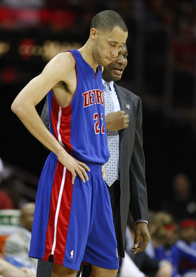 CLEVELAND - APRIL 21: Tayshaun Prince #22 of the Detroit Pistons talks with Pistons Coach Michael Curry while playing against the Cleveland Cavaliers in Game Two of the Eastern Conference Quarterfinals during the 2009 NBA Playoffs at Quicken Loans Arena o