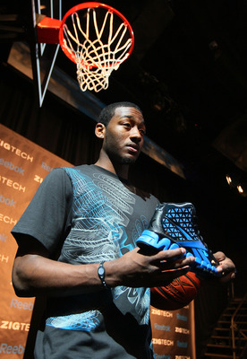 NEW YORK - JUNE 23:  Projected #1 NBA draft pick John Wall speaks to the media during a press conference to unveil his new state-of-the-art Reebok basketball shoe ZigTech Slash at Arena Event Space on June 23, 2010 in New York City.  (Photo by Mike Stobe/