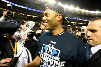 NEW YORK - OCTOBER 25: Mariano Rivera #42 of the New York Yankees walks off the field after defeating the Los Angeles Angels of Anaheim 5-2 in Game Six of the ALCS during the 2009 MLB Playoffs at Yankee Stadium on October 25, 2009 in the Bronx borough of