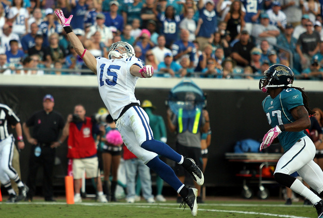 JACKSONVILLE, FL - OCTOBER 03:  Receiver Austin Collie #15 of the Indianapolis Colts cannot make the catch while taking on the Jacksonville Jaguars at EverBank Field on October 3, 2010 in Jacksonville, Florida. The Jaguars won 31-28.  (Photo by Marc Serot