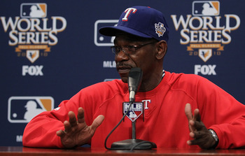 ARLINGTON, TX - OCTOBER 29:  Manager Ron Washington of the Texas Rangers speaks during a press conference for the 2010 World Series at Rangers Ballpark in Arlington on October 29, 2010 in Arlington, Texas.  (Photo by Ronald Martinez/Getty Images)