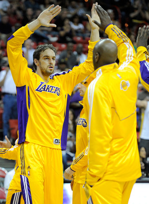LAS VEGAS - OCTOBER 13:  Pau Gasol #16 of the Los Angeles Lakers is introduced before a preseason game against the Sacramento Kings at the Thomas & Mack Center October 13, 2010 in Las Vegas, Nevada. The Lakers won 98-95. NOTE TO USER: User expressly ackno