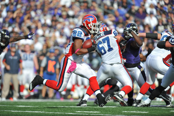 BALTIMORE, MD - OCTOBER 24:  Fred Jackson #22 of the Buffalo Bills runs the ball against the Baltimore Ravens at M&T Bank Stadium on October 24, 2010 in Baltimore, Maryland. The Ravens defeated the Bills 37-34. (Photo by Larry French/Getty Images)