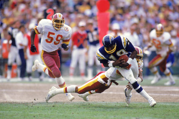 SAN DIEGO - 1985:  Wide receiver Charlie Joiner #18 of the San Diego Chargers runs with the ball as he is being tackled from behind during a game against the Washington Redskins in 1985 at Jack Murphy Stadium in San Diego, California.  (Photo by Rick Stew