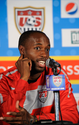 PRETORIA, SOUTH AFRICA - JUNE 02:  Midfielder DeMarcus Beasley of US national soccer speaks during a news conference on June 2, 2010 in Pretoria, South Africa.  (Photo by Kevork Djansezian/Getty Images)