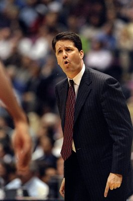 26 Apr 1998:  New Jersey Nets head coach John Calipari looks on during a First Round Playoff Game against the Chicago Bulls at the United Center in Chicago, Illinois. The Bulls defeated the Nets 96-91.