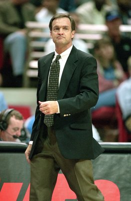 10 Oct 2000:  Head Coach Lon Kruger of the Atlanta Hawks watches the action during the pre-season game against the Orlando Magic at the TD Waterhouse Arena in Orlando, Florida.  The Magic defeated the Hawks 105-83.  NOTE TO USER: It is expressly understoo