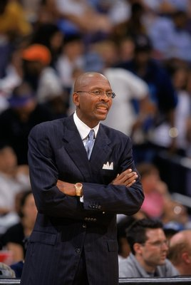 9 Aug 2000:  Coach Darrell Walker of the Washington Mystics looks on during the game against the Cleveland Rockers at the MCI Center in Washington, D.C.  The Mystics defeated the Rockers 60-48.  NOTE TO USER: It is expressly understood that the only right