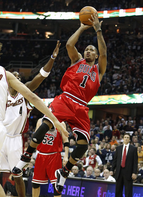 CLEVELAND - APRIL 17: Derrick Rose #1 of the Chicago Bulls shoots against the Cleveland Cavaliers in Game One of the Eastern Conference Quarterfinals during the 2010 NBA Playoffs at Quicken Loans Arena on April 17, 2010 in Cleveland, Ohio.  NOTE TO USER: