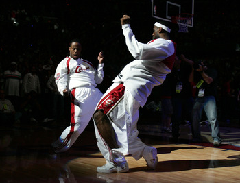 CLEVELAND - JUNE 02:  (L-R) Damon Jones #19 and LeBron James #23 of the Cleveland Cavaliers dance around during player introcuctions against the Detroit Pistons in Game Six of the Eastern Conference Finals during the 2007 NBA Playoffs on June 2, 2007 at t