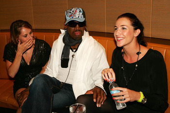 SYDNEY, AUSTRALIA - MARCH 20:  (L-R)Australian gymnast and diver Alexandra Croak, Dennis Rodman and ex-swimmer Elka Graham attend the Battle of the Codes poker game held at Star City March 20, 2008 in Sydney, Australia.  (Photo by Matt King/Getty Images)