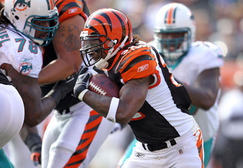CINCINNATI - OCTOBER 31:  Cedric Benson #32 of  the Cincinnati Bengals runs with the ball during the NFL game against the Miami Dolphins at Paul Brown Stadium on October 31, 2010 in Cincinnati, Ohio.  (Photo by Andy Lyons/Getty Images)