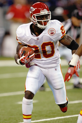 INDIANAPOLIS, IN - OCTOBER 10: Thomas Jones #20 of the Kansas City Chiefs runs against the Indianapolis Colts at Lucas Oil Stadium on October 10, 2010 in Indianapolis, Indiana.  (Photo by Scott Boehm/Getty Images)