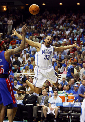 ORLANDO, FL - APRIL 28:  Grant Hill #33 of the Orlando Magic reacts after being fouled in the first half by Flip Murray #6 of the Detroit Pistons in Game Four of the Eastern Conference Quarterfinals during the 2007 NBA Playoffs at Amway Arena on April 28,