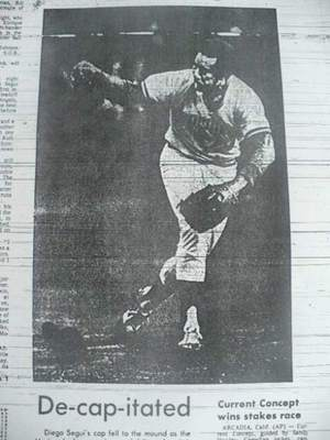 Diego Segui threw the first Mariners pitch ever.  Dave Niehaus was there.