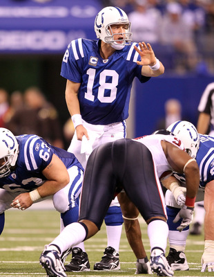 INDIANAPOLIS - NOVEMBER 01:  Peyton Manning #18 of Indianapolis Colts gives instructions to his team during the NFL game against the Houston Texans  at Lucas Oil Stadium on November 1, 2010 in Indianapolis, Indiana.  (Photo by Andy Lyons/Getty Images)