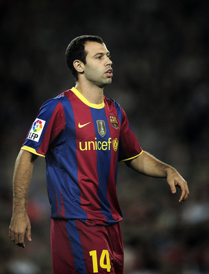 BARCELONA, SPAIN - OCTOBER 16:  Javier Mascherano of Barcelona looks on during the La Liga match between Barcelona and Valencia at the Camp Nou stadium on October 16, 2010 in Barcelona, Spain. Barcelona won the match 2-1.  (Photo by David Ramos/Getty Imag