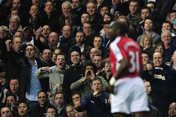 LONDON, ENGLAND - APRIL 14:  Tottenham Hotspur fans berate Sol Campbell of Arsenal during the Barclays Premier League match between Tottenham Hotspur and Arsenal at White Hart Lane on April 14, 2010 in London, England.  (Photo by Shaun Botterill/Getty Ima