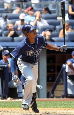 NEW YORK - JULY 18:  B.J. Upton #2 of the Tampa Bay Rays bats against the New York Yankees on July 18, 2010 at Yankee Stadium in the Bronx borough of New York City.  (Photo by Jim McIsaac/Getty Images)