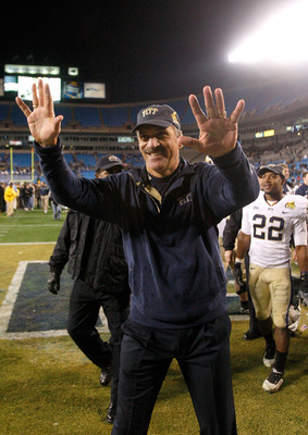 CHARLOTTE, NC - DECEMBER 26:  Head coach Dave Wannstedt of the Pittsburgh Panthers waves to the fans after a 19-17 victory over the North Carolina Tar Heels on December 26, 2009 in Charlotte, North Carolina.  (Photo by Streeter Lecka/Getty Images)