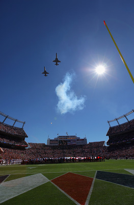 DENVER - SEPTEMBER 26:  US Military jets perform a flyover during pregame ceremonies as the Denver Broncos host the Indianapolis Colts at INVESCO Field at Mile High on September 26, 2010 in Denver, Colorado. The Colts defeated the Broncos 27-13.  (Photo b