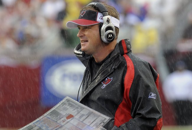 TAMPA, FL - NOVEMBER 30: Coach Jon Gruden of the Tampa Bay Buccaneers directs play against the New Orleans Saints at Raymond James Stadium on November 30, 2008 in Tampa, Florida.  (Photo by Al Messerschmidt/Getty Images)
