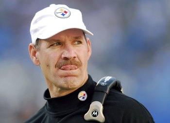 CHARLOTTE, NC - DECEMBER 17:  Coach Bill Cowher of the Pittsburgh Steelers watches his team against the Carolina Panthers on December 17, 2006 at Bank of America Stadium in Charlotte, North Carolina. The Steelers defeated the Panthers 37-3.  (Photo by Gra