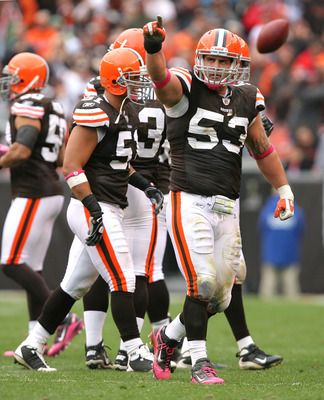 CLEVELAND - OCTOBER 03:  Matt Roth #53 of the Cleveland Browns celebrates after sacking quarterback Carson Palmer #9 of the Cincinnati Bengals at Cleveland Browns Stadium on October 3, 2010 in Cleveland, Ohio.  (Photo by Matt Sullivan/Getty Images)