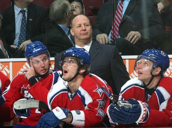 MONTREAL - JANUARY 25:  Head Coach Claude Julien of the Eastern Conference All-Stars looks on from the bench area during the 2009 NHL All-Star game at the Bell Centre on January 25, 2009 in Montreal, Canada. (Photo by Dave Sandford/Getty Images)