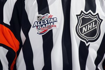 MONTREAL - JANUARY 24:  A detailed view of an NHL referee's jersey during the Honda NHL Superskills competition as part of the 2009 NHL All-Star weekend on January 24, 2009 at the Bell Centre in Montreal, Canada. (Photo by Bruce Bennett/Getty Images)