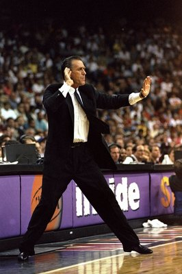3 May 1998:  Miami Heat head coach Pat Riley gestures during game five, of the first round of the Eastern Conference Playoffs against the New York Knicks at the Miami Arena in Miami, Florida. The Knicks defeated the Heat 98-81. Mandatory Credit: Vincent