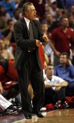 MIAMI - APRIL 13: Head Coach Pat Riley of the Miami Heat directs his team against the Indiana Pacers on April 13, 2007 at the American Airlines Arena in Miami  Florida. The Miami Heat won 100-96. NOTE TO USER: User expressly acknowledges and agrees that,