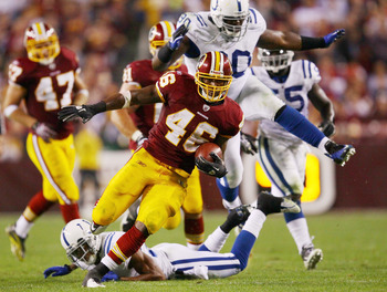 LANDOVER, MD - OCTOBER 17:  Ryan Torain #46 of the Washington Redskins heads up field for a long gain against the Indianapolis Colts at FedExField on October 17, 2010 in Landover, Maryland. The Colts won the game 27-24.  (Photo by Win McNamee/Getty Images