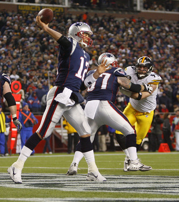 FOXBORO, MA - DECEMBER 9:   Tom Brady #12 of the New England Patriots throws during a game with the Pittsburgh Steelers at Gillette Stadium December 9, 2007 in Foxboro, Massachusetts. The Patriots won 34-13.  (Photo by Jim Rogash/Getty Images)