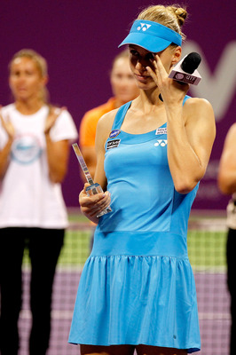 DOHA, QATAR - OCTOBER 29:  Elena Dementieva of Russia announces her retirement after her match against Francesca Schiavone of Italy during day four of the WTA Championships at the Khalifa Tennis Complex on October 29, 2010 in Doha, Qatar.  (Photo by Matth