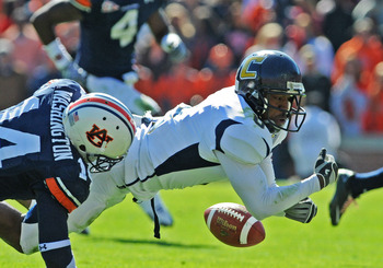 AUBURN, AL - NOVEMBER 06: Wide receiver Chris Pitchford #8 of the Chattanooga Mocs loses a pass against the Auburn Tigers November 6, 2010 at Jordan-Hare Stadium in Auburn, Alabama.  Auburn won 62 - 24. (Photo by Al Messerschmidt/Getty Images)