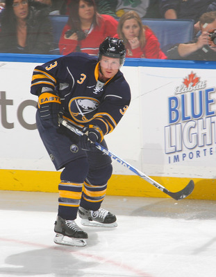 BUFFALO, NY - NOVEMBER 05: Jordan Leopold #3 of the Buffalo Sabres skates against the Montreal Canadiens on November 5, 2010 in Buffalo, New York. Montreal won 3-2. (Photo by Rick Stewart/Getty Images)