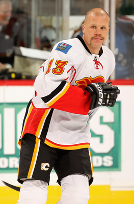 DENVER - NOVEMBER 09:  Olli Jokinen #13 of the Calgary Flames warms up prior to facing the Colorado Avalanche at the Pepsi Center on November 9, 2010 in Denver, Colorado. The Flames defeated the Avalanche 4-2.  (Photo by Doug Pensinger/Getty Images)