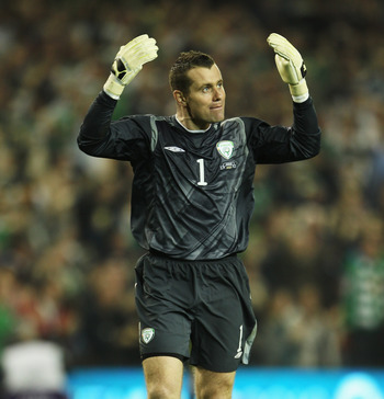 DUBLIN, IRELAND - OCTOBER 08:  Republic of Ireland goalkeeper Shay Given reacts during the EURO 2012 Qualifier Group B match between the Republic of Ireland and Russia at Lansdowne Road on October 8, 2010 in Dublin, Ireland.  (Photo by Bryn Lennon/Getty I