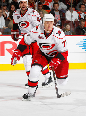 PHILADELPHIA - NOVEMBER 01:  Joe Corvo #77 of the Carolina Hurricanes skates against the Philadelphia Flyers on November 1, 2010 at the Wells Fargo Center in Philadelphia, Pennsylvania. Flyers defeat the Hurricanes 3-2.  (Photo by Mike Stobe/Getty Images)