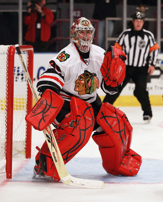 NEW YORK - NOVEMBER 01:  Marty Turco #30 of the Chicago Blackhawks tends net against the New York Rangers at Madison Square Garden on November 1, 2010 in New York City. The Rangers defeated the Blackhawks 3-2.  (Photo by Bruce Bennett/Getty Images)