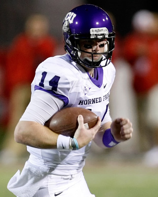 LAS VEGAS - OCTOBER 30:  Quarterback Andy Dalton #14 of the Texas Christian University Horned Frogs runs for yardage against the UNLV Rebels at Sam Boyd Stadium October 30, 2010 in Las Vegas, Nevada. TCU won 48-6.  (Photo by Ethan Miller/Getty Images)