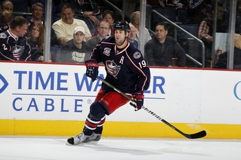 COLUMBUS, OH - OCTOBER 20:  Ethan Moreau #19 of the Columbus Blue Jackets skates during a game against the Anaheim Ducks on October 20, 2010 at Nationwide Arena in Columbus, Ohio. (Photo by Gregory Shamus/Getty Images)