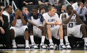 PROVIDENCE, RI - MARCH 20:  The bench of the Villanova Wildcats reacts in the closing moments of a loss to the Saint Mary's Gaels during the second round of the 2010 NCAA men's tournament at Dunkin' Donuts Center on March 20, 2010 in Providence, Rhode Isl