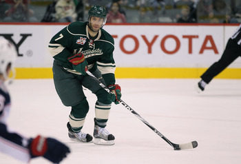 ST PAUL, MN - OCTOBER 16:  Matt Cullen #7 of the Minnesota Wild skates against the Columbus Blue Jackets at Xcel Energy Center on October 16, 2010 in St Paul, Minnesota.  The Blue Jackets defeated the Wild 3-2.  (Photo by Jeff Gross/Getty Images)