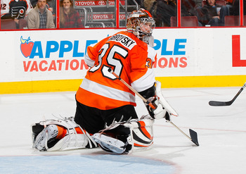 PHILADELPHIA - NOVEMBER 01:  Goaltender Sergei Bobrovsky #35 of the Philadelphia Flyers skates against the Carolina Hurricanes on November 1, 2010 at the Wells Fargo Center in Philadelphia, Pennsylvania. Flyers defeat the Hurricanes 3-2.  (Photo by Mike S